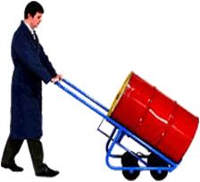 Carretilla transportadora y volcadora de cilindros metalicos